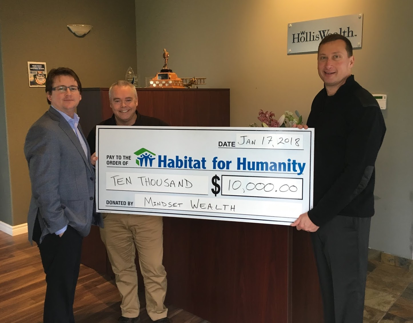 Mindset Wealth presents $10,000 cheque to Habitat for Humanity